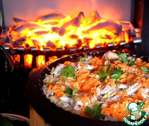 Минтай на рисовой подушке с овощами - кулинарный рецепт
