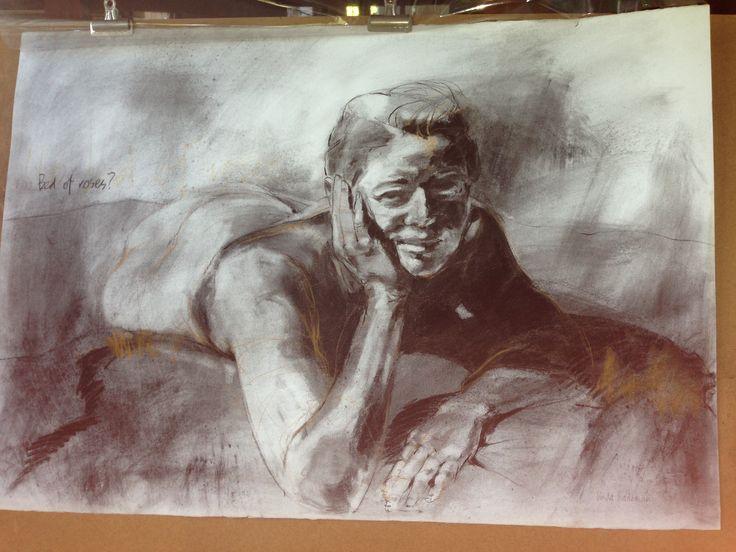 Linda Rademan. Charcoal on paper