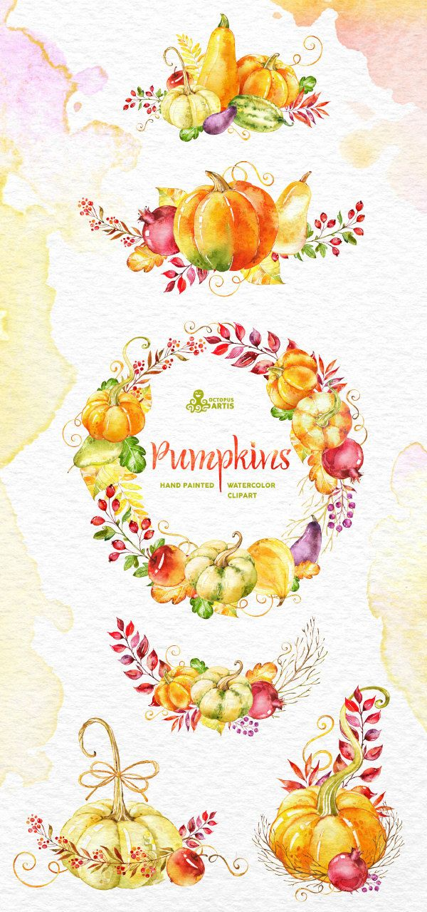 Pumpkins. Clipart: watercolor wreath bouquets fall by OctopusArtis