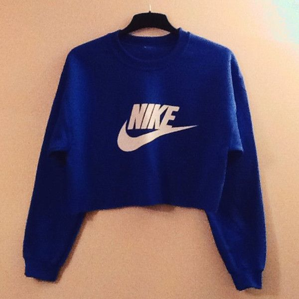Unisex Customised Nike Cropped Jumper Sweatshirt Festival Swag ($30) ❤ liked on Polyvore featuring tops, hoodies, sweatshirts, dark olive, t-shirts, women's clothing, blue crop top, blue top, blue sweatshirt and crop top