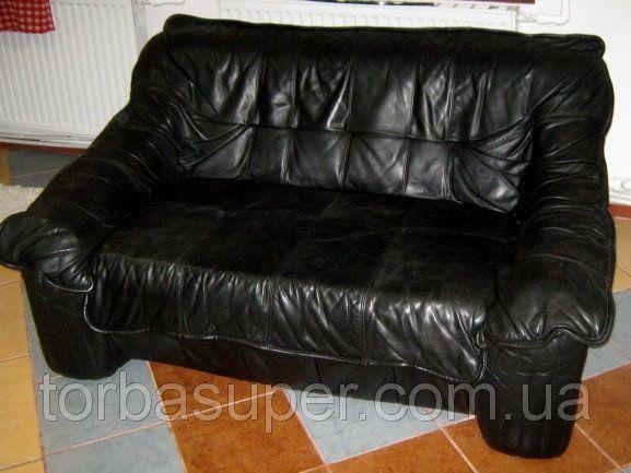 набор кожаной мебели диван на 3 места диван двойка и кресло черный