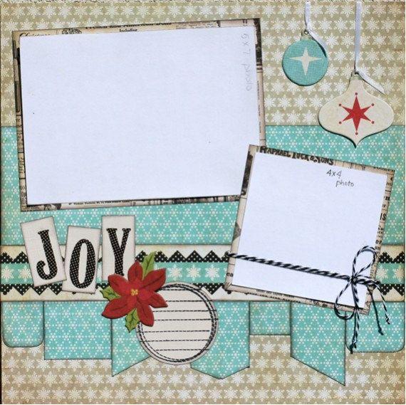 Premade Scrapbook Page 12 x 12 Christmas  Layout - Joy. $10.99, via Etsy.
