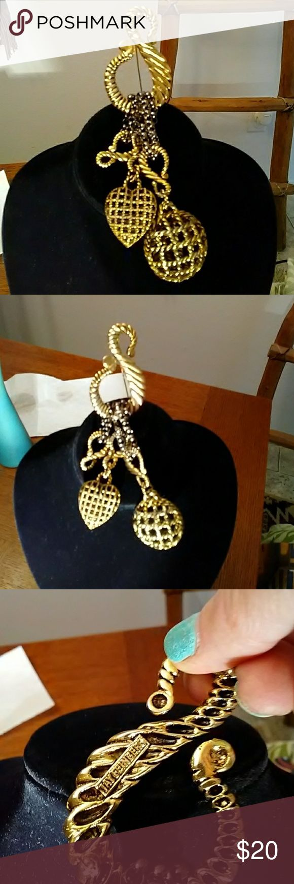 Brooch original Original jay Feinberg gold & black chunky money sign with heart & circular dangles jay feinberg Jewelry Brooches