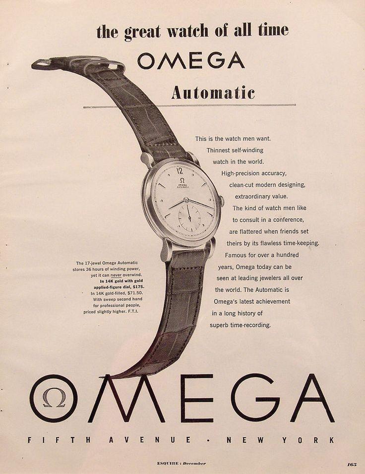 1949 Omega Automatic Watch Vintage Magazine Ad. #omega #automatic #vintage #classic #watch #watches #ads #advertisements #stawc