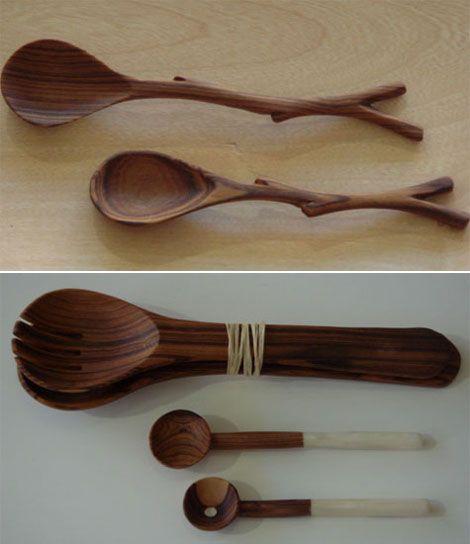 Cucharas de madera para servir la ensalada