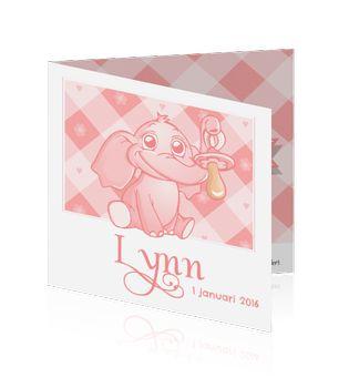 Meisjes geboortekaartje met een olifant met speen aan slurfje. Ruitjespatroon op de achtergrond met bloemetjes en harten. http://mycards.nl/geboortekaartjes/meisje/geboortekaart-meisje-olifantje-roze-speen