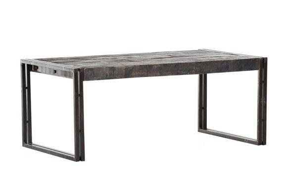 Dohányzóasztal: lakkozott sötétbarna színben, asztallap: antikolt hatású masszív mangófából, fém vázzal, Szé/Ma/Mé: kb. 110/45/60cm