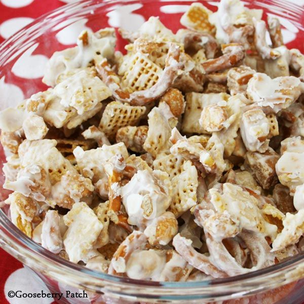 Sweet & Salty Party Mix - made with corn chex, pretzels, caramels and white chocolate - from Gooseberry Patch's  Homestyle in a Hurry