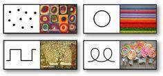 Jeux de dominos et jeu de mémory des formes graphiques
