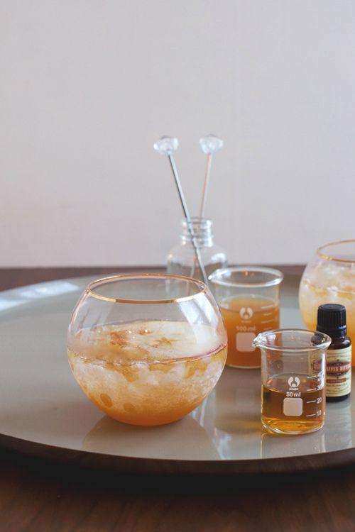Ginger Bourbon Cider - Bourbon, Calvados, Apple Cider, Orange or Classic Bitters, Ginger Beer, Cinnamon.