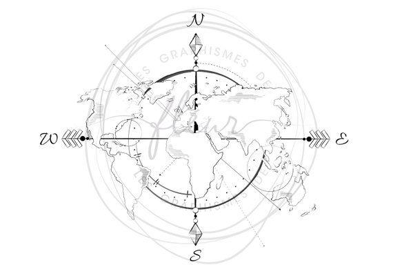 carte du monde graphique Graphic world map print + frame (avec images) | Tatouage carte du