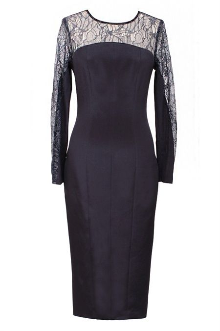 This Covet dress in French metallic lace is a sleek silhouette in rich midnight blue. This modern abstract lace design is cut into a flattering arched yoke that continues elegantly into the long sleeve. The dress is cut in silk lycra for comfort and fit in a flattering slim line silhouette with a slightly dropped back hem and luxe rose gold zip. The curved silhouette seems to flow with the body and works perfectly with an Odyssey sandal and Amplify chain bag. #GingerandSmart