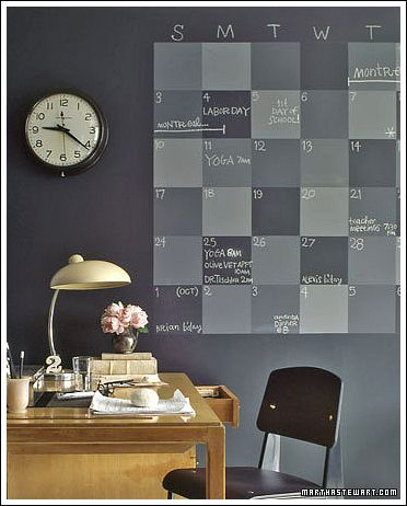 Painting a wall with different tones of chalk paint and using it as a calendar.  Great home office idea from http://www.decorating-ideas-made-easy.com/home-office-decorating-ideas.html