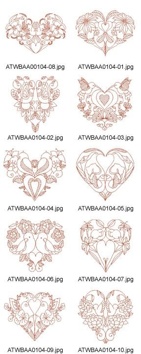 Embroidery or just Print-outs.  Decorative-Lovely-Bird-Redwork-5x7*