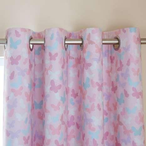 Maisie Heart Pink Blackout Eyelet Curtains Dunelm Deco