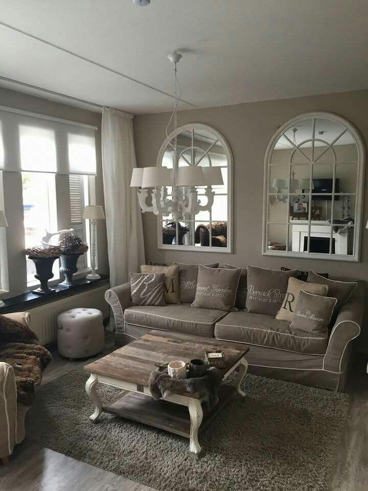 25 beste idee n over landelijke woonkamers op pinterest landhuizen en moderne cottage decor - Gordijnen landelijke stijl chique ...