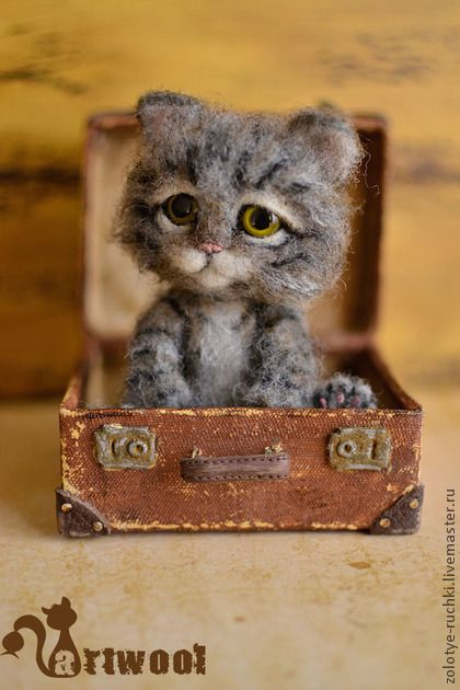 Simon, the needle felted cat, is sitting in suitcase                                                                                                                                                      Más