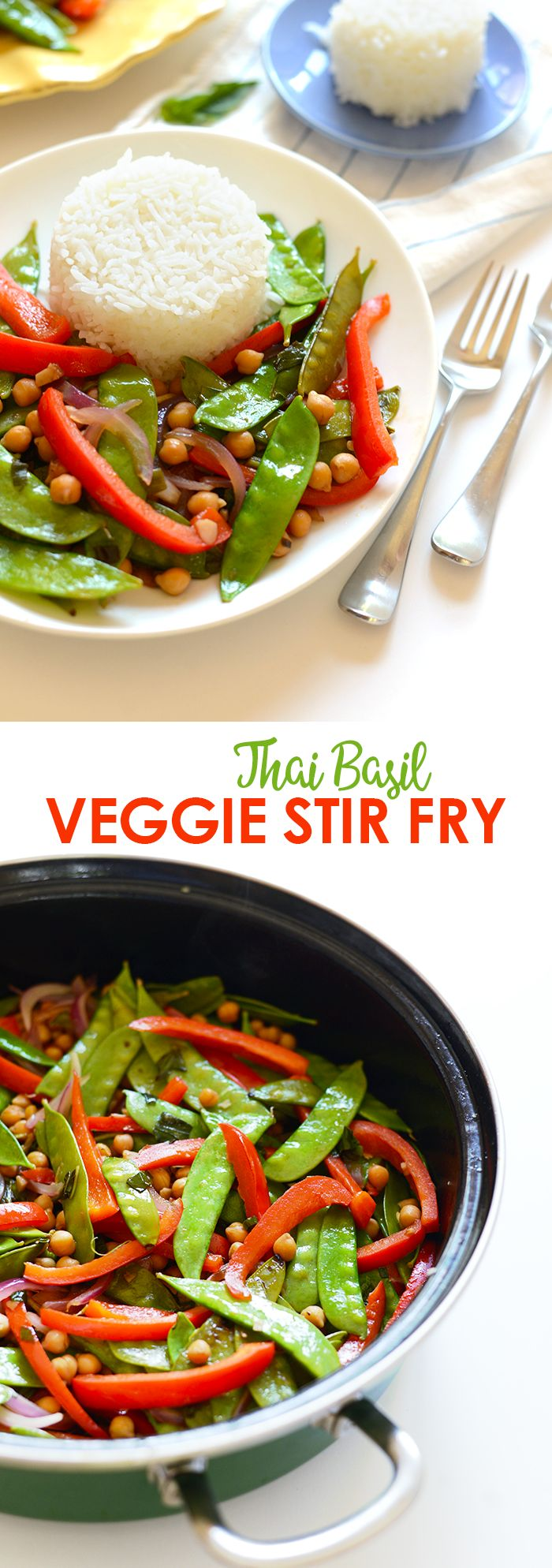 Ditch the meat and make yourself this delicious vegetarian Thai Basil Veggie Stir Fry with a side of sticky rice for a filling, fresh dinner!