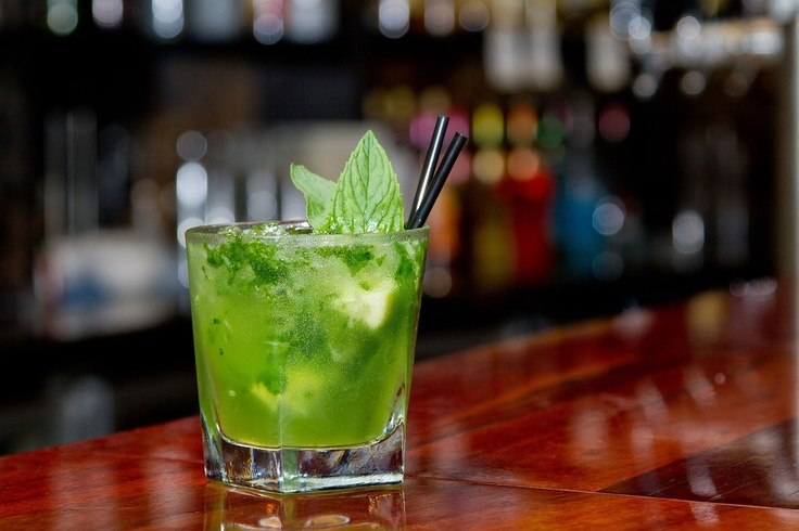 Green Tracky Pants - Absinthe, Vanilla Vodka, Midori, Apple Schnapps, lime, sugar & mint available @ The Quarie