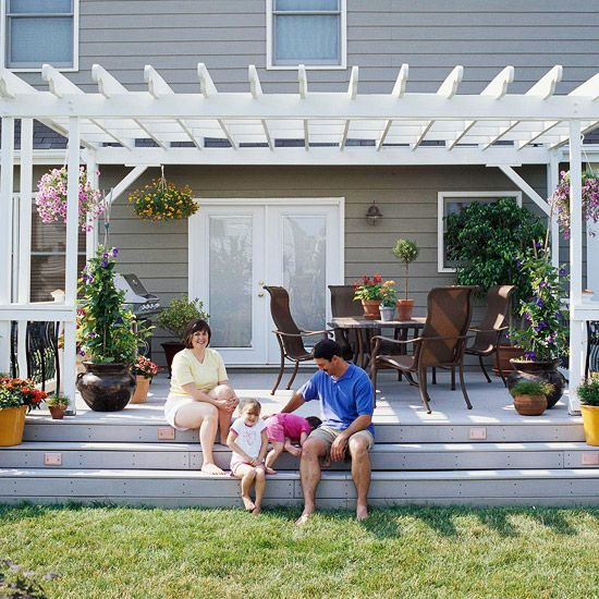 Pergola - white, attached to house and deck