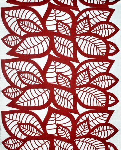 Mairo red Hosta fabric. Designed by Linda Svensson Edevint.