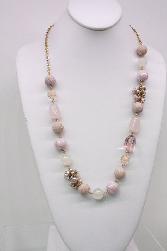 Pretty in Pinks Bead and Pearl Cluster Long Anthropologie Inspired Necklace. $13.00, via Etsy.