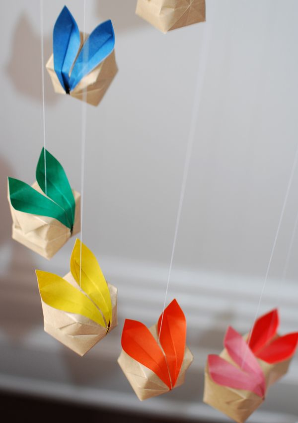 Learn how to make a gorgeous origami bunny mobile