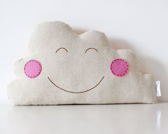 Happy Cloud Cushion Hand Embroidered Happy Face