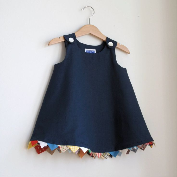 Party Flag Bunting navy toddler girls children's dress - size 12 -18 months. $40.00, via Etsy.