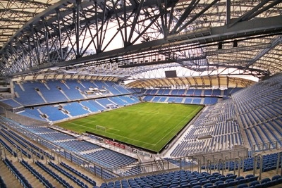 The City Stadium in Poznan is acctaully 30 years old. In the meantime it has undergone many reconstructions and renowations, but the most important one was in 2002,when the forth tribune were bulit. After the last reconstruction due to Euro 2012, the stadium was put to use in 2010. The inauguration involved the concert of Sting. City Stadium, Poznan, Poland.