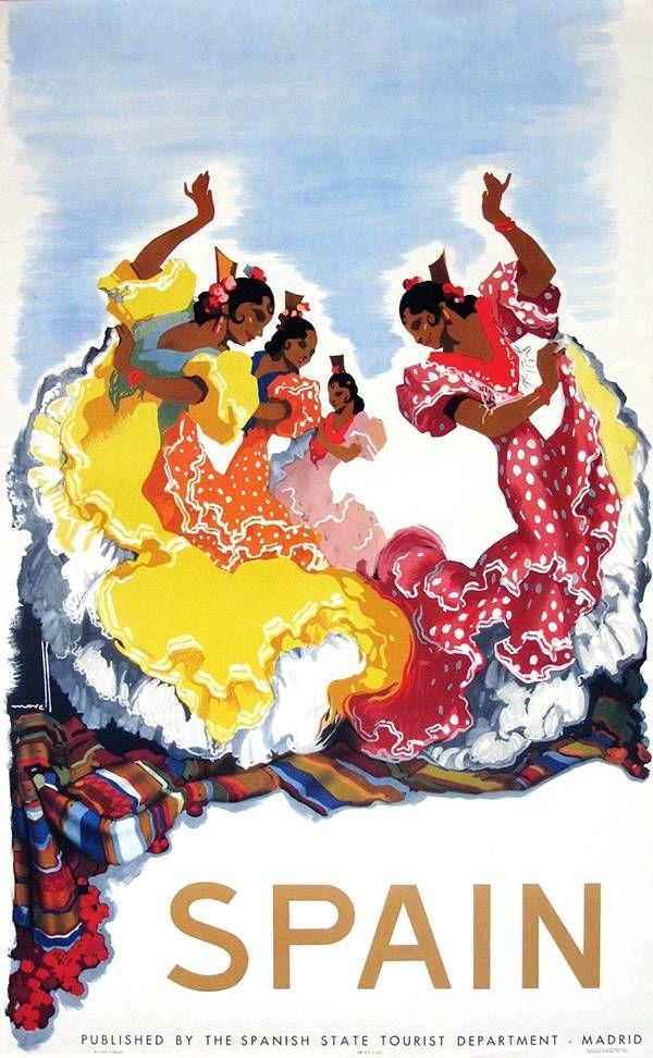 Vintage poster Spanish ladies dancing flamenco