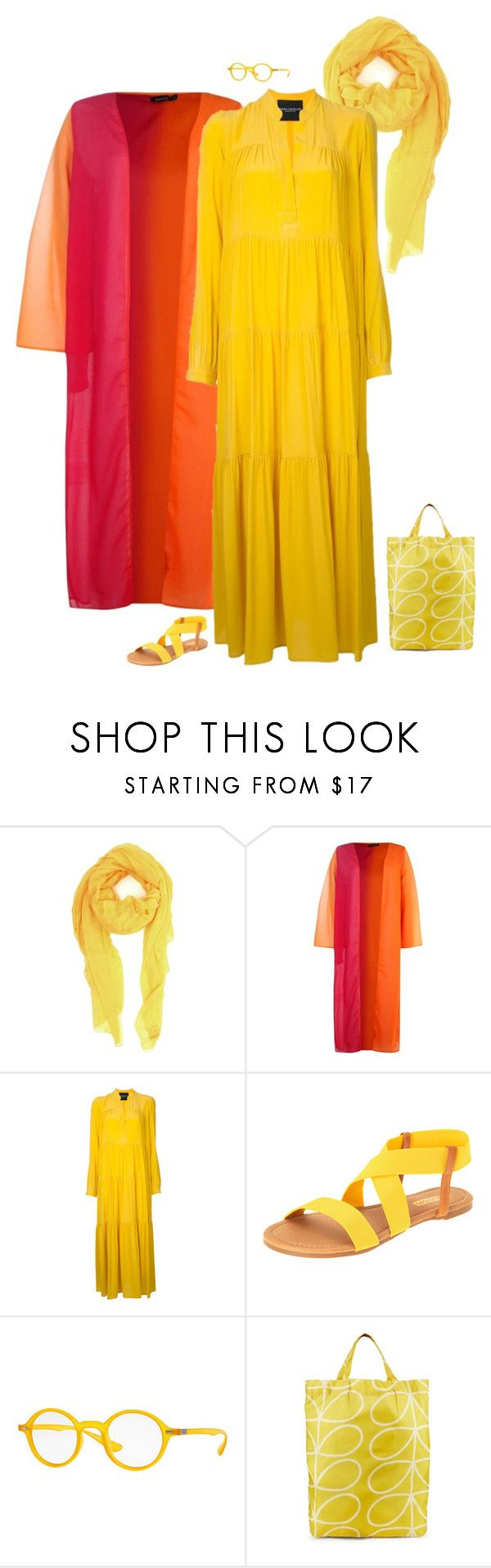 """""""Outfit 505"""" by chicagomuslima ❤ liked on Polyvore featuring M Missoni, Boohoo, Erika Cavallini Semi-Couture, Floopi, Ray-Ban, Orla Kiely, summerstyle, yellowdress, maxistyle and outfitsfortravel"""
