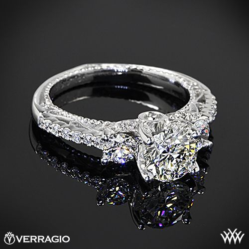 Verragio Beaded Shared-Prong 3 Stone Engagement Ring with a 0.904ct A CUT ABOVE