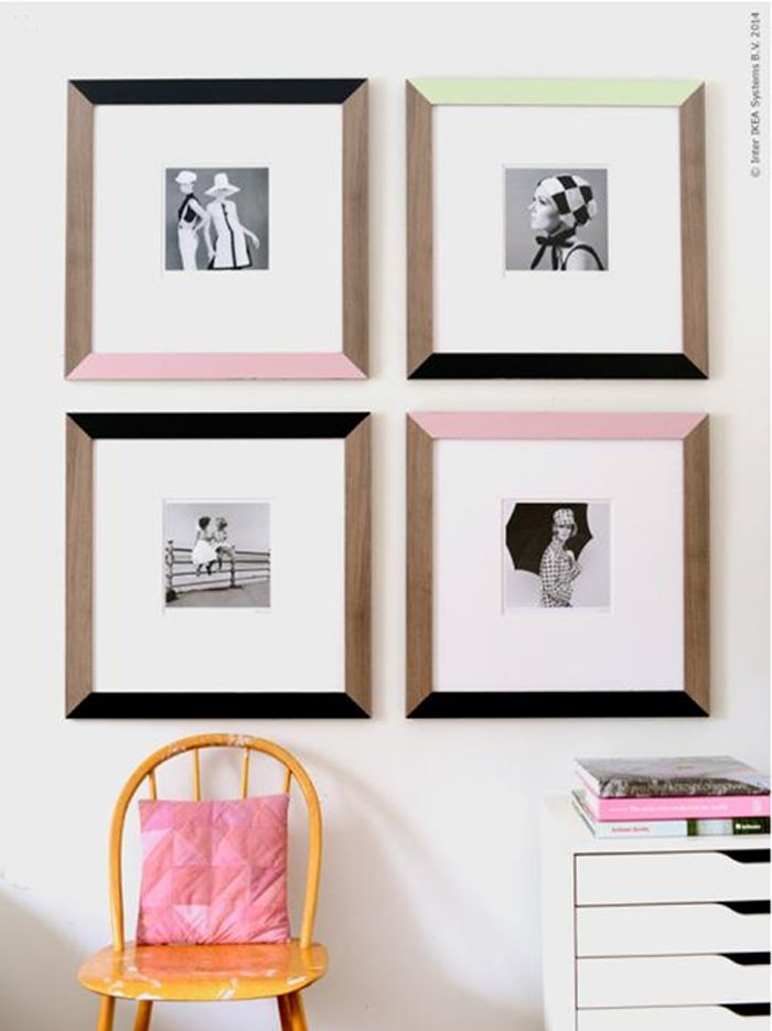 IKEA Hack - With a pack of 60s inspired photographs, Livet Hemma's stylists set out to create this beauty of DIY painting some JALLVIK frames with paints from the same decade.
