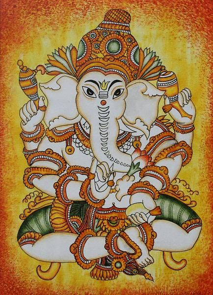 17 best images about kerala murals on pinterest kerala for Mural art of ganesha
