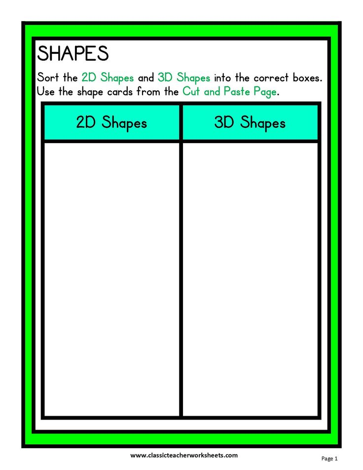 Check out our collection of Math Worksheets at classicteacherworksheets.com! Worksheet: Geometry – Sorting 2D Shapes and 3D Shapes