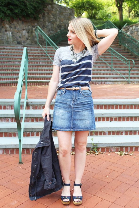 Poor Little It Girl in Gap Denim Skirt, J.Crew Striped T-shirt, Aeropostale Cargo Jacket, Madewell Heels and Revlon Red Lipstick