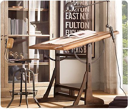 This awesome drafting table from Restoration Hardware inspires me to draft up a great design concept!