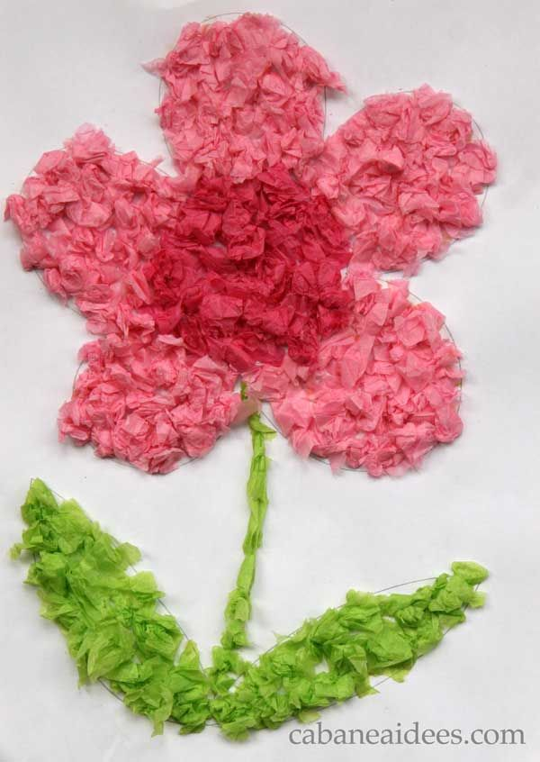 Mosaïque de fleurs 3D, parfaite pour les maternelle  Une autre utilisation des tubes de papier toilette