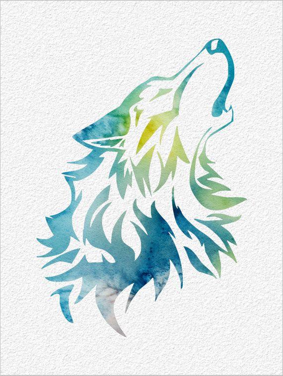 WOLF  Archival Art Print 8 x 10  Watercolor by ImageDeSignStudio, $25.00