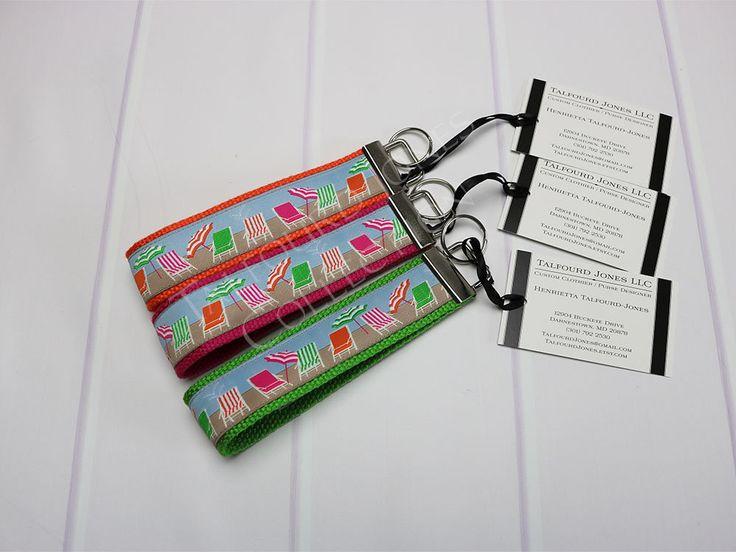 Beach Keychain - Summer Keychain - Wrist Key Ring - Key Lanyard - Ribbon Key Wristlet - Orange Pink Green - Womens Key Ring - Gift Under 10 by TalfourdJones on Etsy