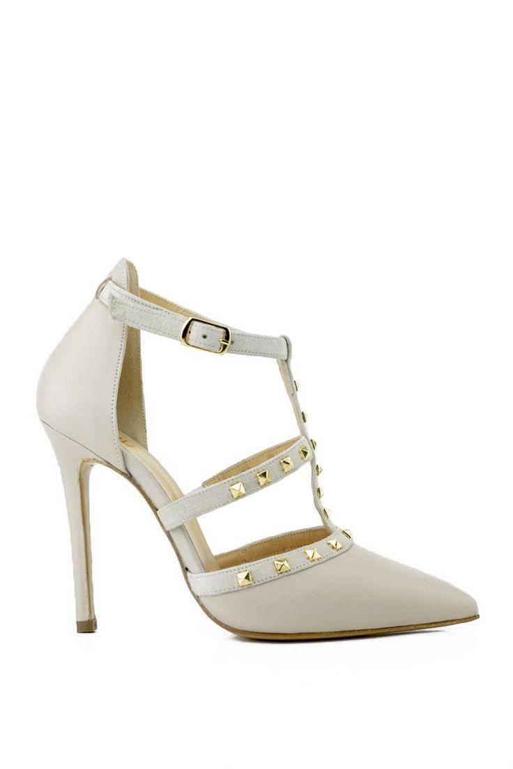 Sandalo donna con tacco donna punta chiusa e borchie beige ...