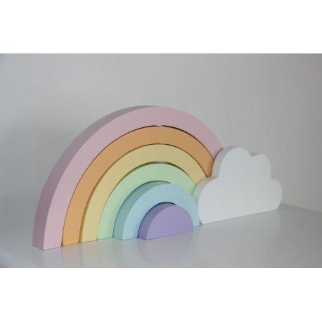Arc en ciel en bois pastel Pixituff decoration chambre enfant bebe deco kids coloris pastel jouet cadeau naissance - la prunelle de mes yeux rue daguerre paris