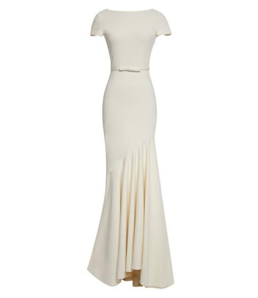 modaoperandi.com - Katie Ermilio Scoop-Back Tailor Bow Gown CREAM