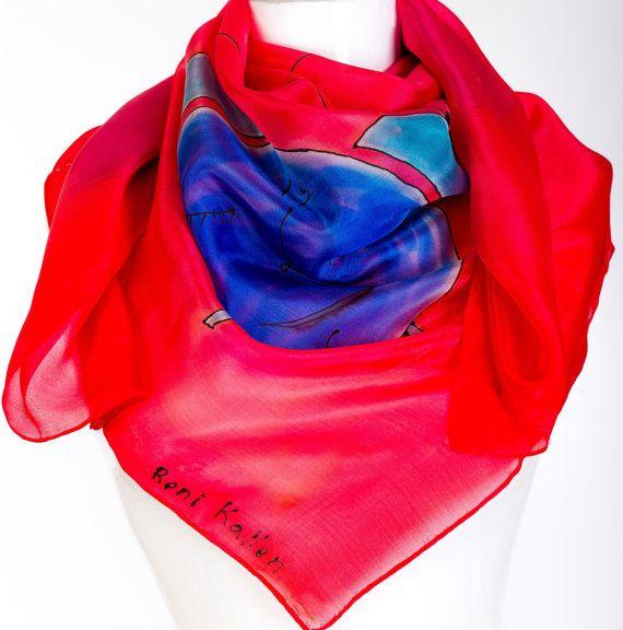 Hand Painted  Silk Scarf Clocks Red Blue by KallenSilkScarves