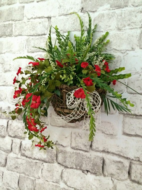 Floral Wall Basket, Front Door Decor, Red Silk Floral ... on Silk Flower Wall Sconces Arrangements id=92444