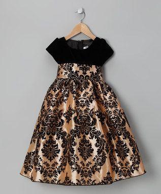 Black & Gold Damask Velvet Dress - Infant, Toddler & Girls