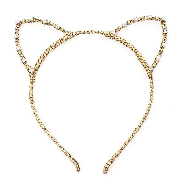 Glitter Kitty Cat Ear Headband Decorated with Rhinestones