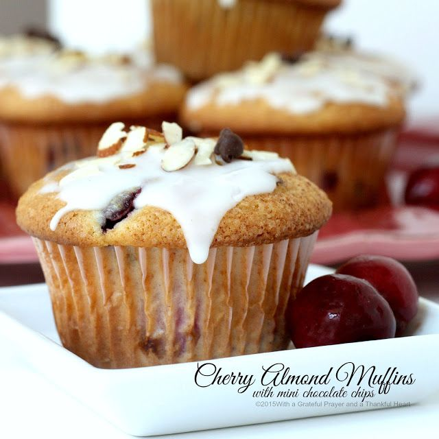 ... and a Thankful Heart: Cherry Almond Muffins with Mini Chocolate Chips