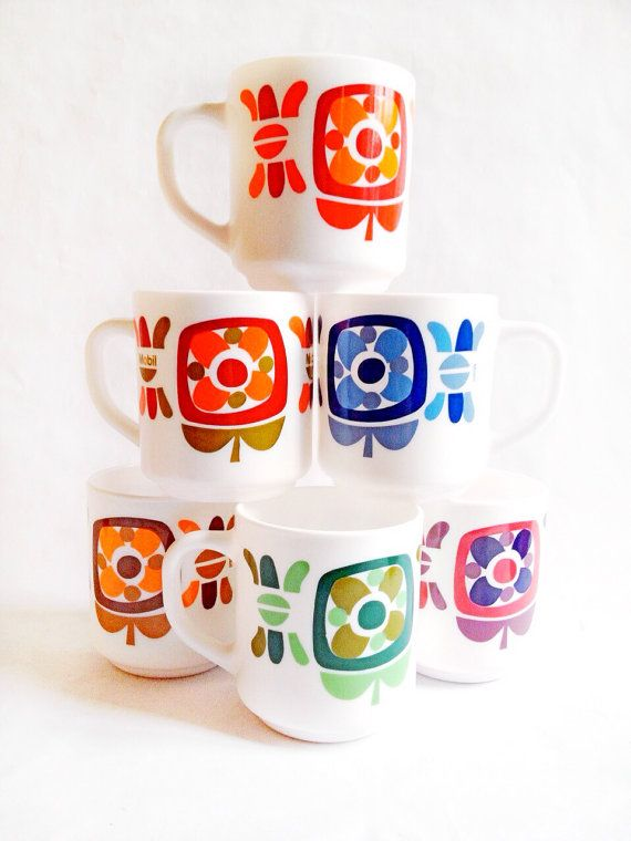 Vintage French Mobil Mugs/Cups Full Set of 6 by AbeilleAntiques, $60.00